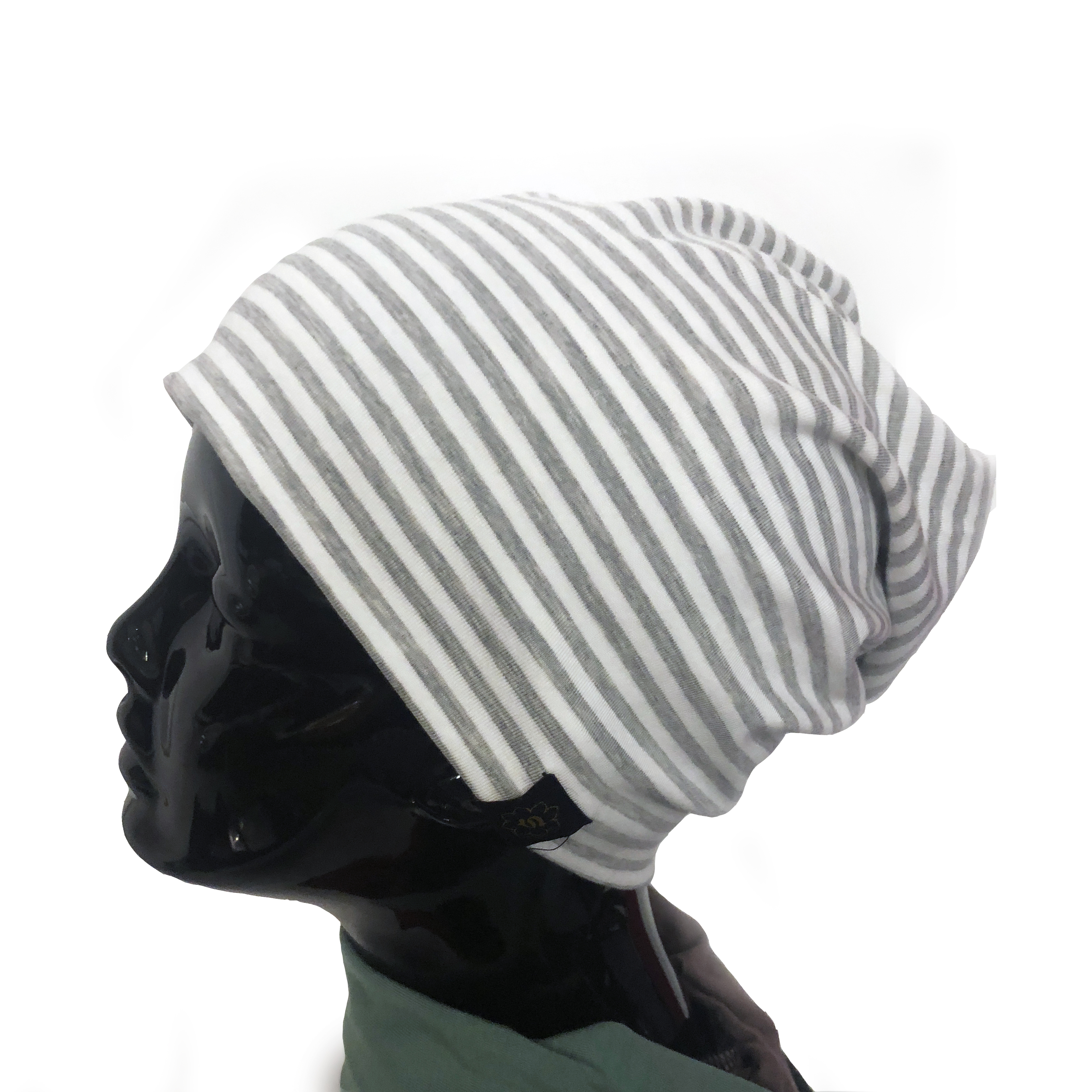 dbcdc588d2a Stretch Siddhi Light Grey Stripes  Hats For Cancer Patients