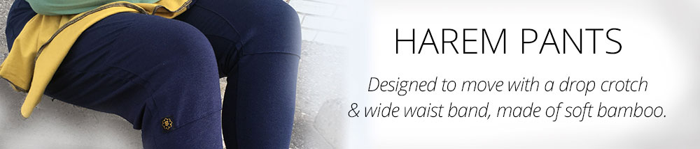 Practice, meditate, walk or be still in our beautiful bamboo Harem Pants.