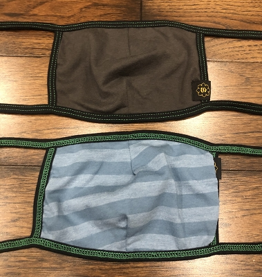 Charcoal and Ocean Stripes with Black Ties/Green Stitching